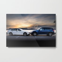 Two Luxury Cars by the River for Sunset (for Valentine's Day) Metal Print