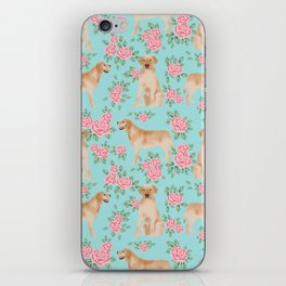 Yellow Labrador Retriever dog breed pet portraits floral dog pattern gifts for dog lover iPhone Skin