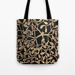 Mistletoe Black Tote Bag