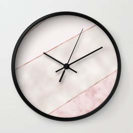 Spliced mixed pink marble and rose gold Wall Clock