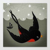 swallow Canvas Prints featuring swallow by gal shkedi