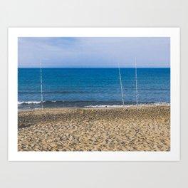 Fishpoles on Beach Art Print