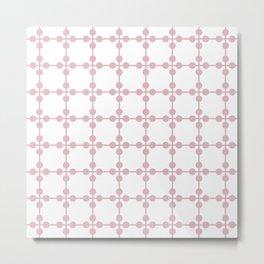 Droplets Pattern - White & Dusky Pink Metal Print