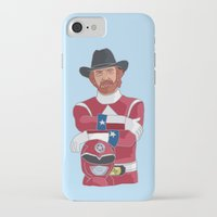 power ranger iPhone & iPod Cases featuring Walker Texas Power Ranger by Emily Niland