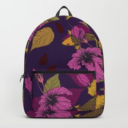 Vibrant Goldfish And Hibiscus Flower Pattern Backpack