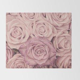 Some People Grumble - Pink Rose Pattern - Roses Garden Throw Blanket