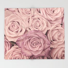 Some People Grumble - Pink Rose Pattern - Roses Throw Blanket