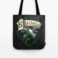 slytherin Tote Bags featuring Slytherin Crest by Sharayah Mitchell