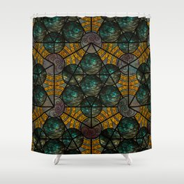 Platonic Solid Icosahedron - Aqua Shower Curtain