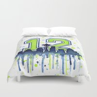 seahawks Duvet Covers featuring Seattle 12th Man Art Skyline Watercolor  by Olechka
