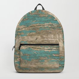 Rustic Wood - Beautiful Weathered Wooden Plank - knotty wood weathered turquoise paint Backpack