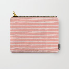 Rose Pink Stripes Pattern Carry-All Pouch