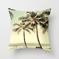 Retro Vintage Palm Tree with Hawaii Summer Sea Beach Throw Pillow