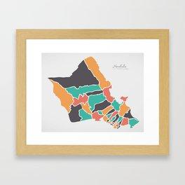 Honolulu Hawaii Map with neighborhoods and modern round shapes Framed Art Print