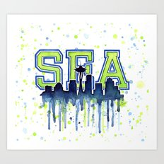 Seattle 12th Man Art Watercolor Space Needle Painting Art Print