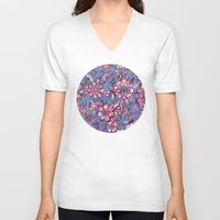 indigo V-neck T-shirts featuring Sweet Spring Floral - soft indigo & candy pastels by micklyn
