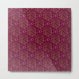 Gold Monstera on Purple Metal Print