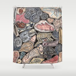 Fossils for history, dinosaur and archaeology lovers Shower Curtain