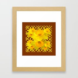 Coffee Brown Pattern of Golden Daffodils Art Framed Art Print