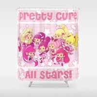 the cure Shower Curtains featuring Pretty Cure All Stars - Pink by monobuu