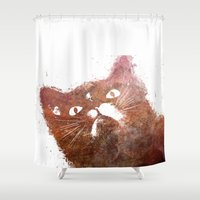 ginger Shower Curtains featuring Ginger cat by jbjart