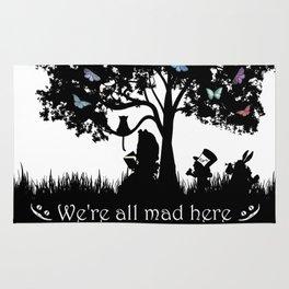 We're All Mad Here III - Alice In Wonderland Silhouette Art Rug