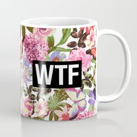 2pac Mugs featuring WTF by Text Guy