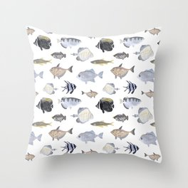 Fish Pattern - Blue & Gray Watercolor Theme Throw Pillow