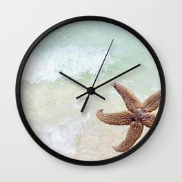 Starfish on the Beach Wall Clock