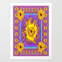Lilac Purple & Yellow Sunflowers Abstract Garden Design Art Print