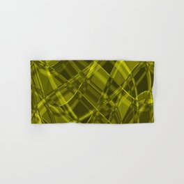 Chaotic yellow ribbons with a pattern of intertwining chess rhombuses. Hand & Bath Towel