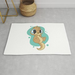 Cute Otter Touched Rug