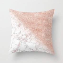 Elegant faux rose gold confetti white marble image Throw Pillow