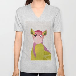 Lemur and a chewing gum club Unisex V-Neck
