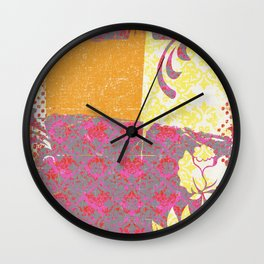 Crayon Bright Rose Pink Collage Love Wall Clock