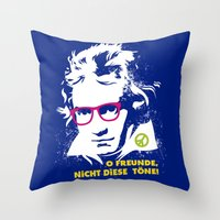 beethoven Throw Pillows featuring Beethoven Hippie by Maldita Novena