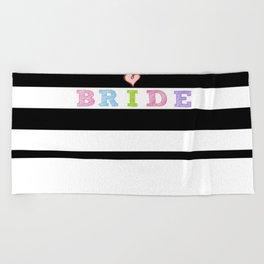 BRIDE Heart on Modern black white stripes Beach Towel