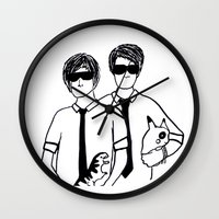 phil jones Wall Clocks featuring Phil & Dan by Kath Linz