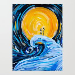 Starry Spiral Hill Night Painting Poster