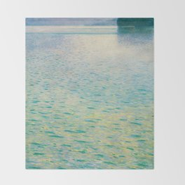 Island in the Attersee Gustav by Klimt Date 1902 // Abstract Oil Painting Water Horizon Scene Throw Blanket