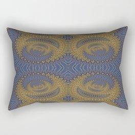 GoldBlue Mandalic Pattern 2 Rectangular Pillow
