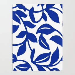 PALM LEAF VINE SWIRL BLUE AND WHITE PATTERN Poster