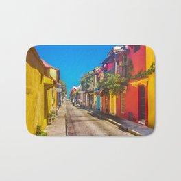 Traditional Street in Cartagena de Indias, Colombia Bath Mat