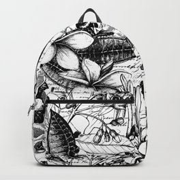 Black And White Tropical Flower Pattern Backpack