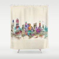san diego Shower Curtains featuring san diego california by bri.buckley