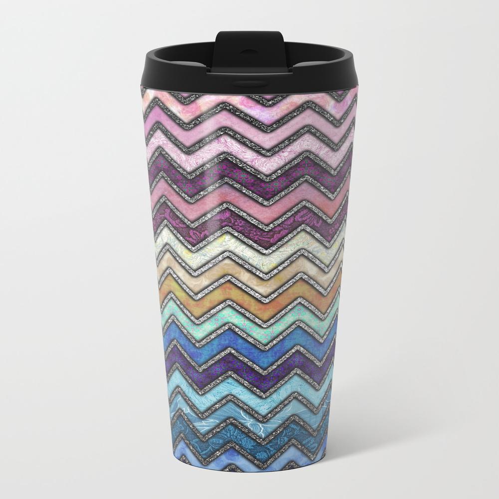 Colorful Silver Chevron Pattern Metal Travel Mug by Nomadartstudio MTM8821431