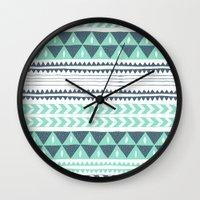 stripe Wall Clocks featuring Winter Stripe by Alice Rebecca Potter