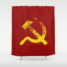Used Communist Hammer Sickle Shower Curtain