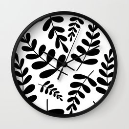Black leave pattern on white Wall Clock