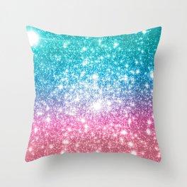 Mermaid Galaxy Sparkle Stars Throw Pillow
